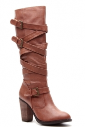 3ec41c18fbd Chestnut Faux Leather Strapped Up Calf Length Chunky Heel Boots   Cicihot  Boots Catalog women s